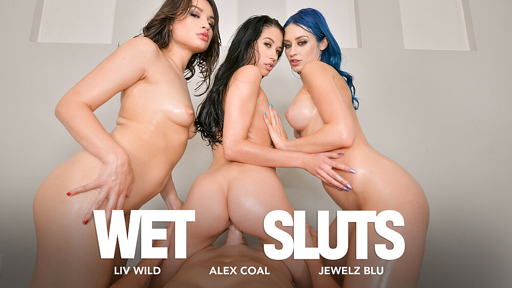 Alex Coal, Jewelz Blu, and Liv Wild get all oiled up to fuck you
