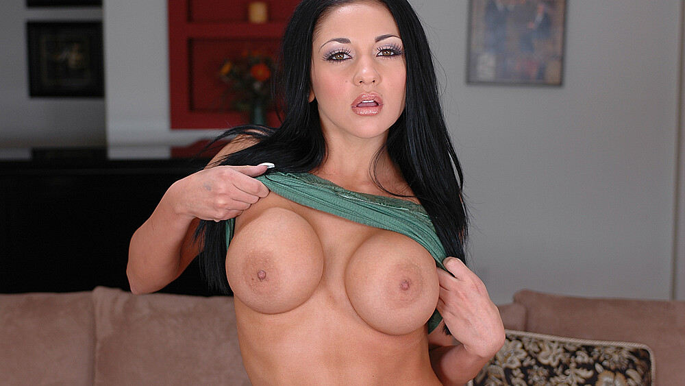 Audrey Bitoni fucking in the living room with her tits