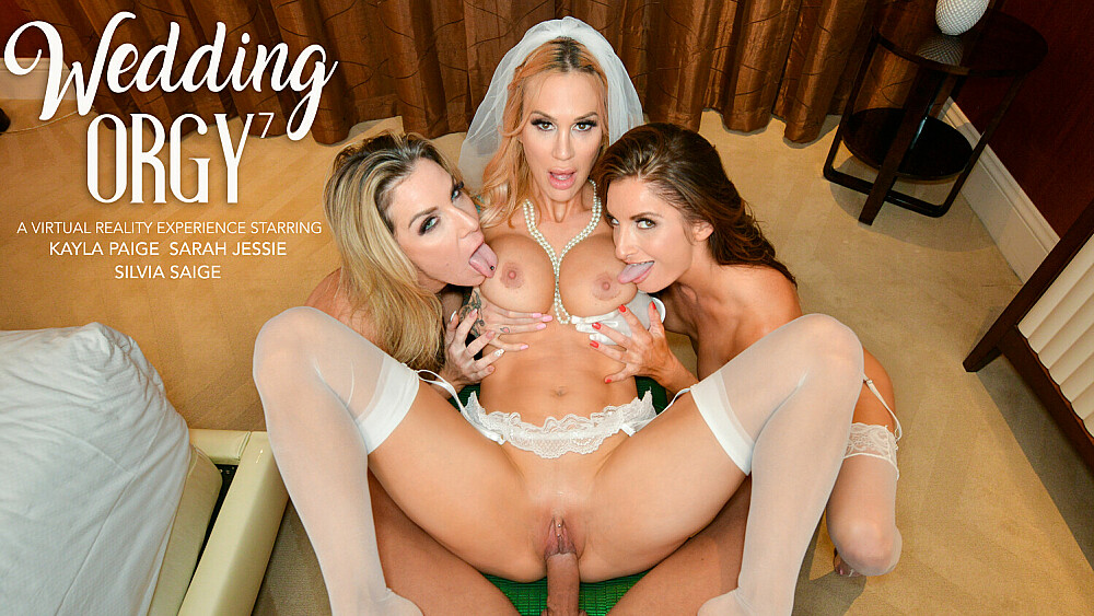 Sarah Jessie is getting married but wants one last bang with her bride's maids, Kayla Paige and Silvia Saige