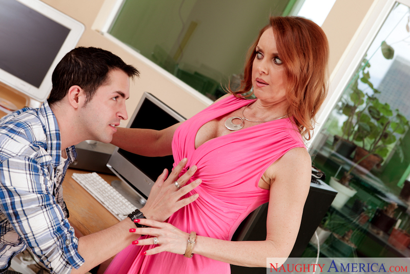 Porn star Janet Mason getting ready