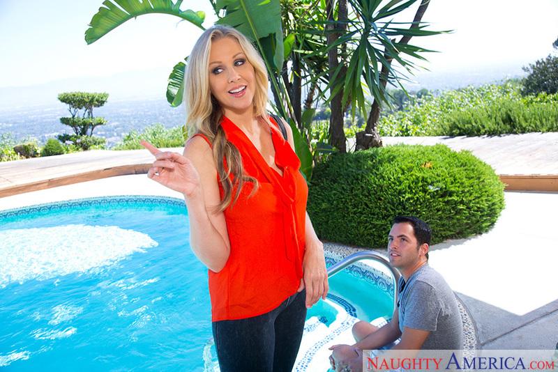 Porn star Julia Ann getting ready
