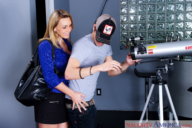 Porn star Tanya Tate getting ready