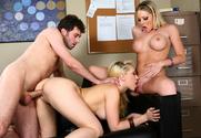 Shawna Lenee, Kagney Linn Karter & James Deen in Naughty Office - Sex Position 2