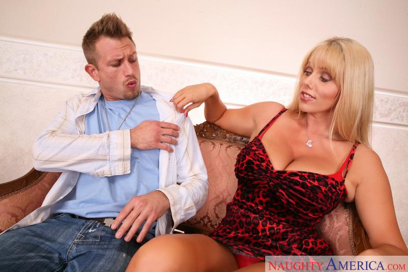 Porn star Karen Fisher getting ready