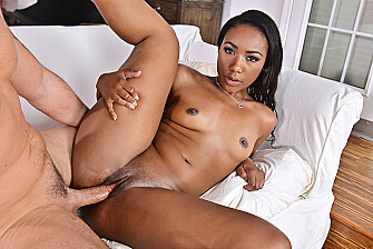 Ebony Chanell Heart fucking in the den with her black hair - Sex Position 3