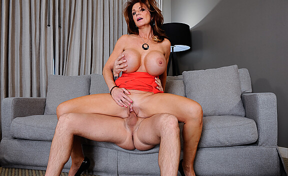 Deauxma fucking in the couch with her big tits - Sex Position #6