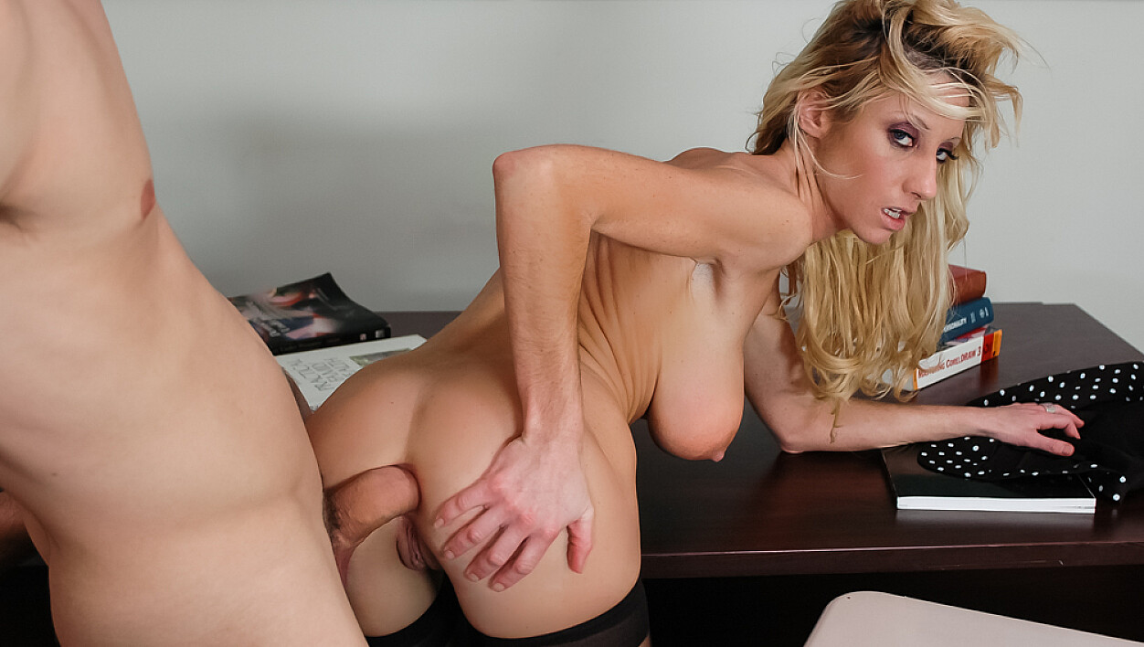 Regan Anthony fucking in the classroom with her tits