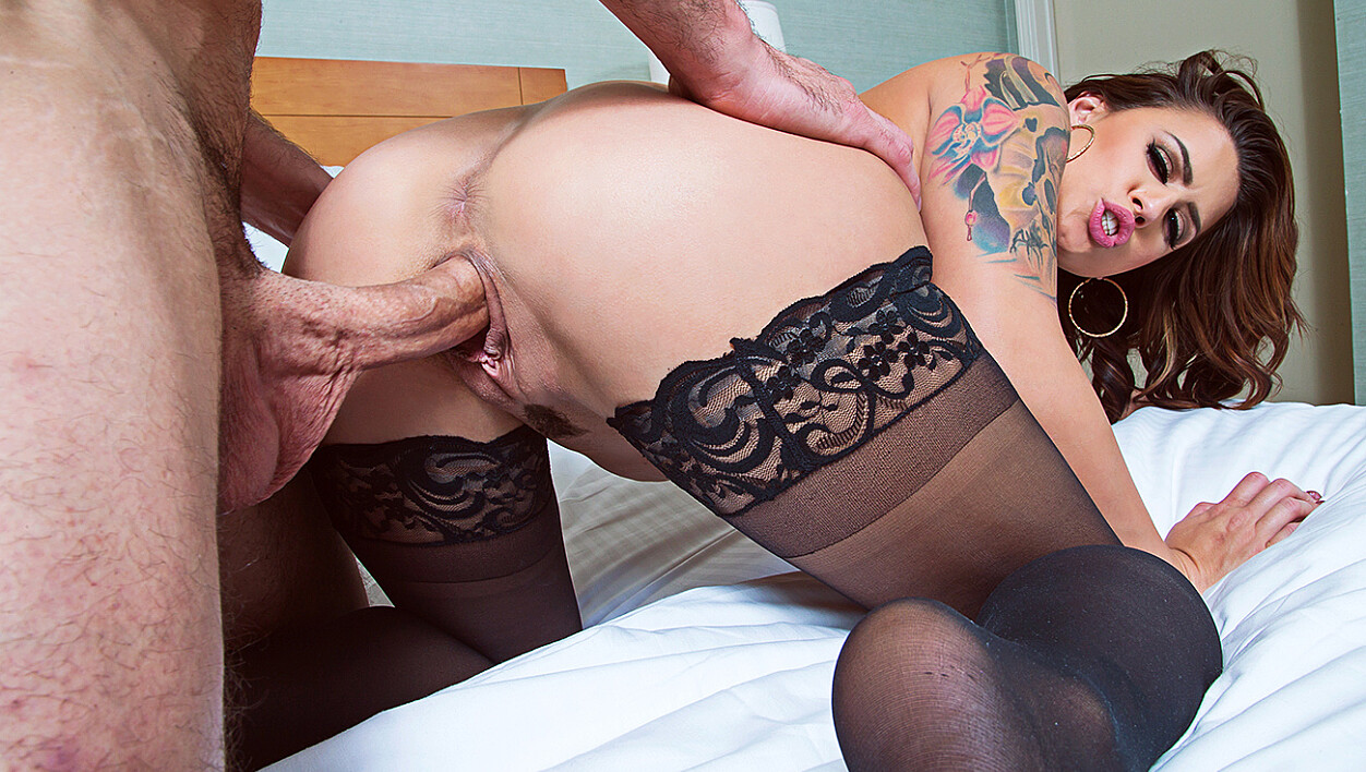 Brunette Eva Angelina fucking in the bedroom with her tits