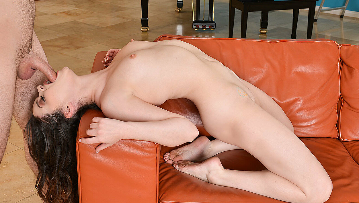 Jenna J Ross fucking in the living room with her small tits