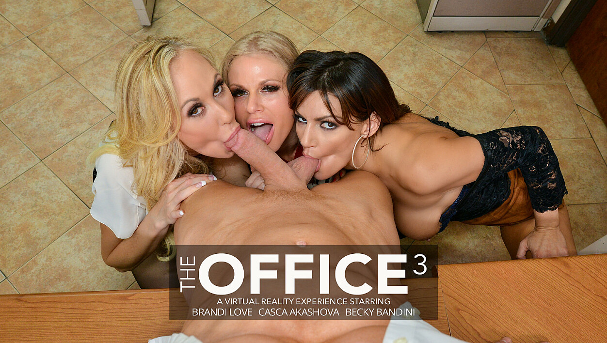 Becky Bandini, Brandi Love, and Casca Akashova have their way with their hung co-worker