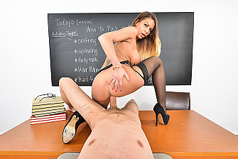 Brooklyn Chase fucking in the desk with her big tits vr porn - Sex Position 2