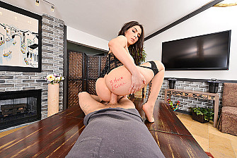 Valentina Nappi fucking in the table with her natural tits - Blowjob