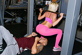 Bad girl Marsha May fucking in the gym with her petite - Sex Position 1