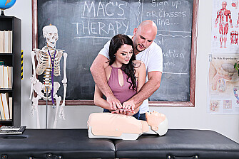 Megan Sage fucking in the massage table with her hazel eyes - Sex Position 1