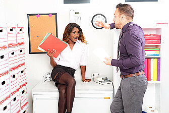 Secretary Ana Foxxx takes her boss's law firm cock - Sex Position 1