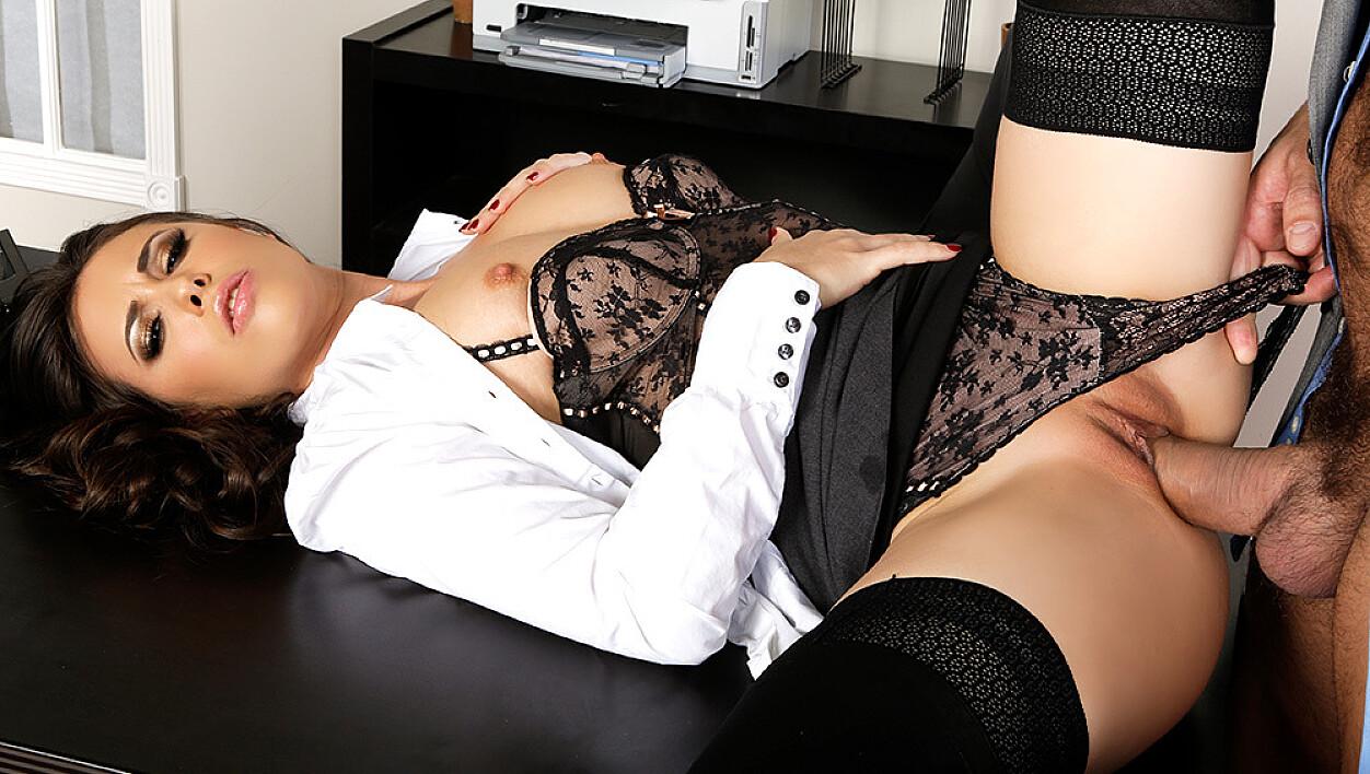 Casey Calvert fucking in the desk with her lingerie