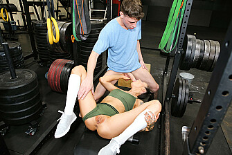 Marley Brinx pumps iron while riding her step bro's cock - Sex Position 2