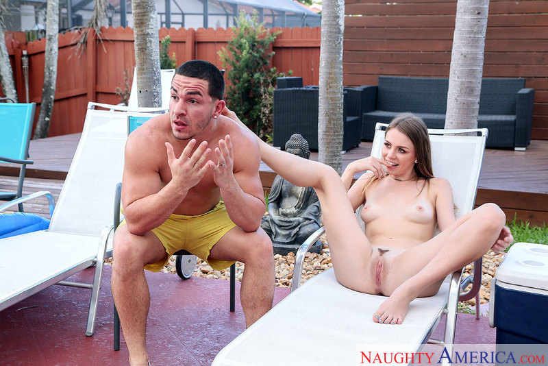 Alex Blake fucking in the patio with her small natural tits - Sex Position 1