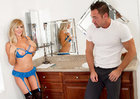 Tasha Reign fucking in the bathroom with her petite - Sex Position 1