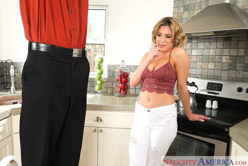 Mia Pearl fucking in the kitchen with her medium tits - Sex Position 1
