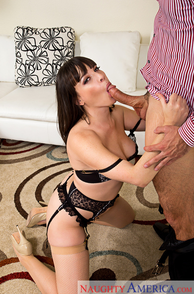 Dana DeArmond fucking in the couch with her medium tits