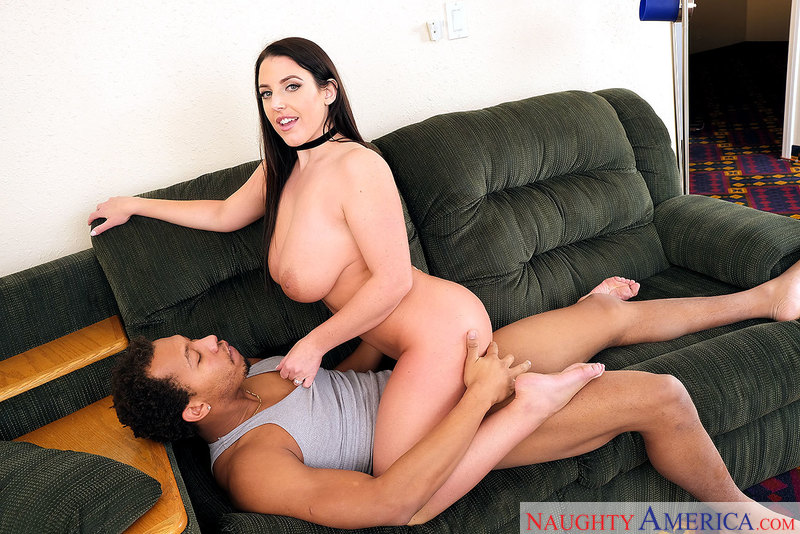 Angela White fucking in the den with her innie pussy - Blowjob