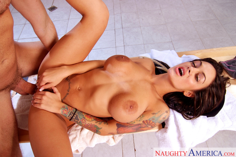Angelina Valentine fucking in the shower with her tattoos - Sex Position 3