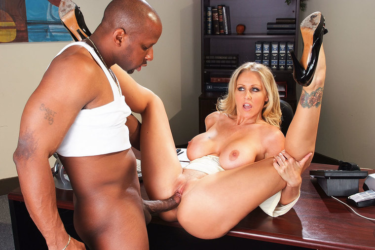 Bad girl Julia Ann fucking in the office with her tattoos