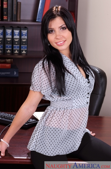 Rebeca Linares fucking in the office with her small tits